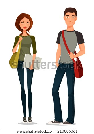 cartoon illustration of students in casual clothes - stock vector