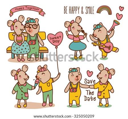 Cartoon illustration of sweet Couple in love - stock vector