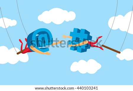 Cartoon illustration of teamwork between social media icon on flying trapeze