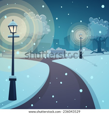 Cartoon illustration of the city park in winter time. - stock vector