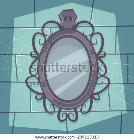 Cartoon illustration of the creepy retro mirror with skull.  - stock vector