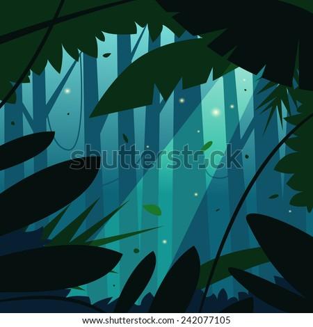 Cartoon illustration of the tropical rain forest jungle. - stock vector