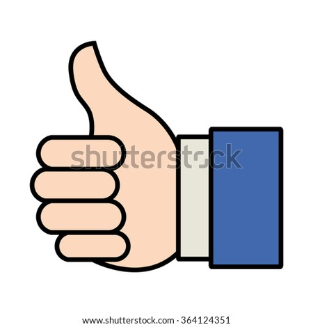 Cartoon illustration of thumbs up or like hand gesture for website or mobile application icon