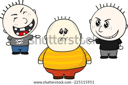 cartoon illustration of two childs bullying and teasing of obese and overweight child isolated on white background - stock vector