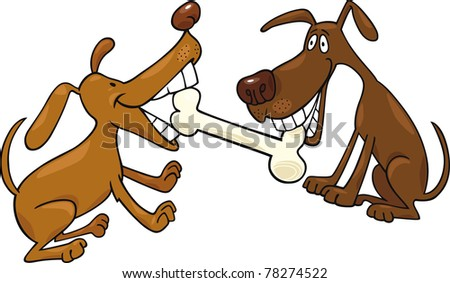cartoon illustration of two dogs playing with bone - stock vector