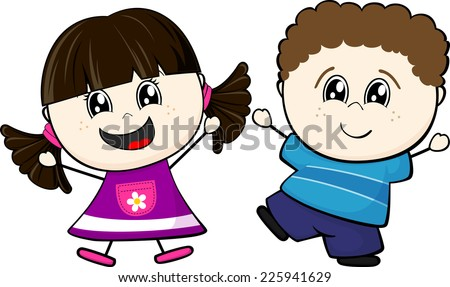cartoon illustration of two happy little children isolated on white background - stock vector