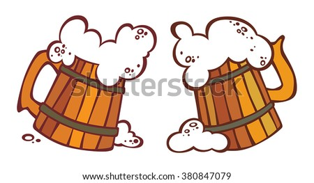 Cartoon illustration of two tankards with a beer. Can be easily colored and used in your design. - stock vector