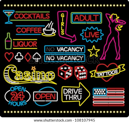 Cartoon illustration of various neon light signage and design elements, isolated on black. - stock vector
