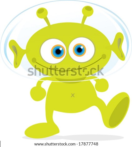 Cartoon Illustration of Walking Green Alien - stock vector
