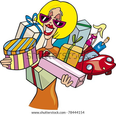 Cartoon illustration of Woman on shopping