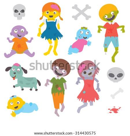 Cartoon illustration of zombie  - stock vector