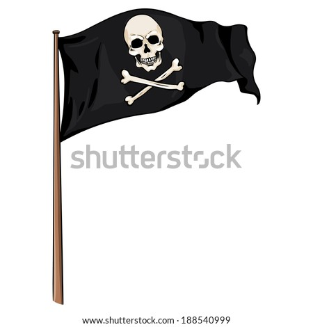 Cartoon Illustration: Pirate Flag Fluttering in the Wind - stock vector
