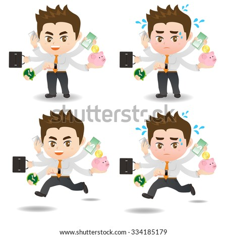 cartoon illustration set of Business man busy, business, money - stock vector