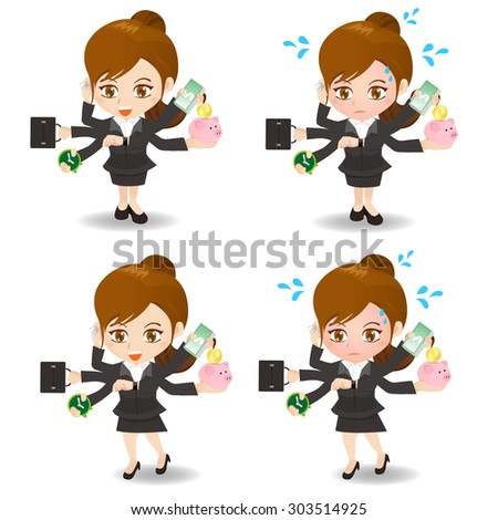 cartoon illustration set of Business woman busy, business, money - stock vector