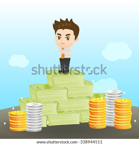 cartoon illustration set of Businessman earning the money - stock vector