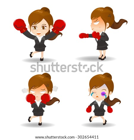 cartoon illustration set of Businesswoman boxing - stock vector