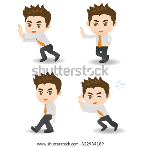 cartoon illustration set of Success and excited Business man push something - stock vector