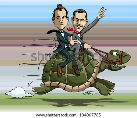 Cartoon illustration: two businessmen riding a fast turtle