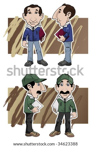 Cartoon illustration. Two salesmen by different views: front and side, with different clothing colors - stock vector