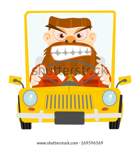 Cartoon illustration with an angry driver in the car on the road. - stock vector