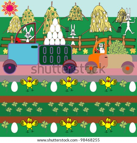 Cartoon illustration with animal farmers working the field - stock vector