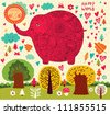 Cartoon illustration with funny elephant, sun and trees. - stock vector