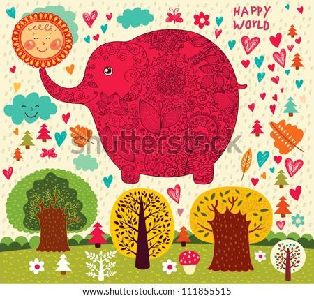 Cartoon illustration with funny elephant, sun and trees. - stock vector