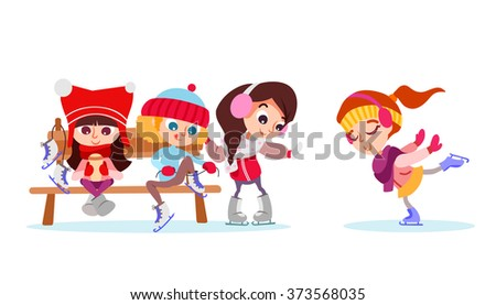 Cartoon illustration with group of cute girl on ice rink. Figure skating for kids. Vector illustration isolated on white background - stock vector