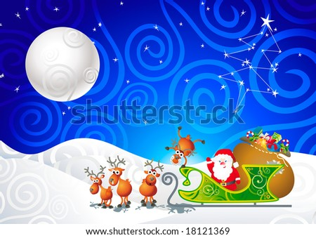 cartoon illustration with Santa, his sleigh and his reindeer - stock vector