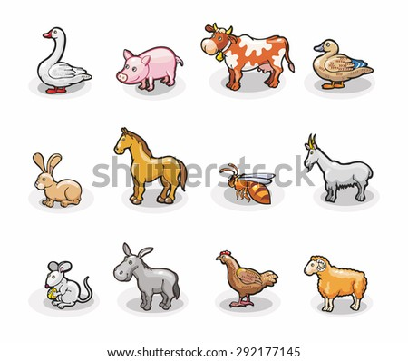 Cartoon Illustrations of farm animals. Bright vector icons isolated on a white background. - stock vector
