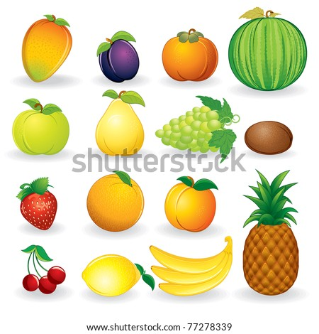 Cartoon Illustrations of Ripe Fruits. Vector Icon of Mango, Bananas, Pear, Pineapple, Persimmon, Kiwi etc... set isolated on white background