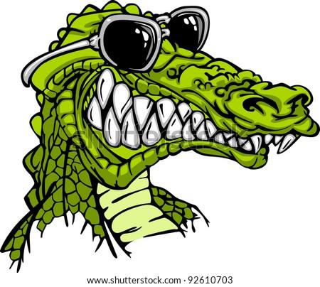Cartoon Image of a Crocodile or Alligator Wearing Sunglasses - stock vector