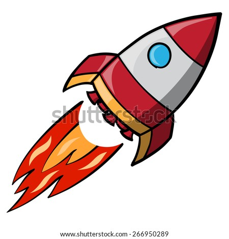 cartoon image of a flying space rocket - stock vector
