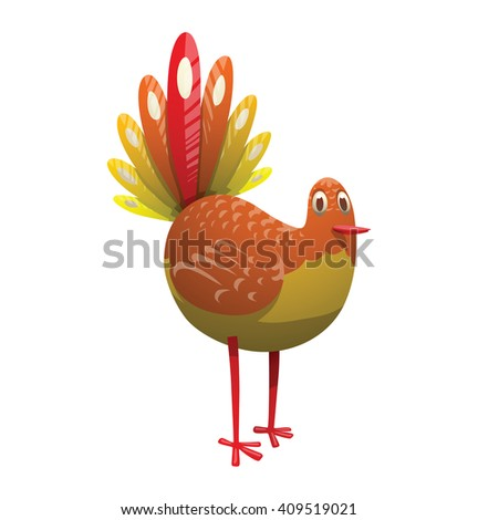 Cartoon image of a funny fantasy beautiful plump tropical bird with bright orange-yellow feathers, big feathery rainbow tail and beak standing on a white background. Vector illustration. Tropical bird - stock vector