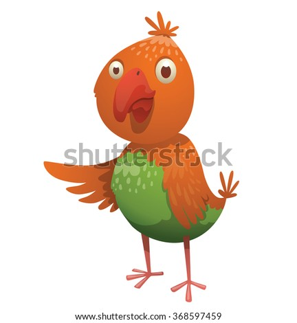 Cartoon image of a funny fantasy beautiful tropical bird with bright orange-green feathers, small tail and a big red curved beak standing on a white background. Vector illustration. - stock vector