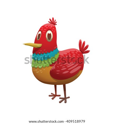 Cartoon image of a funny fantasy small beautiful tropical bird with bright red-rainbow feathers, small tail and small yellow beak standing on a white background. Vector illustration. Tropical bird. - stock vector