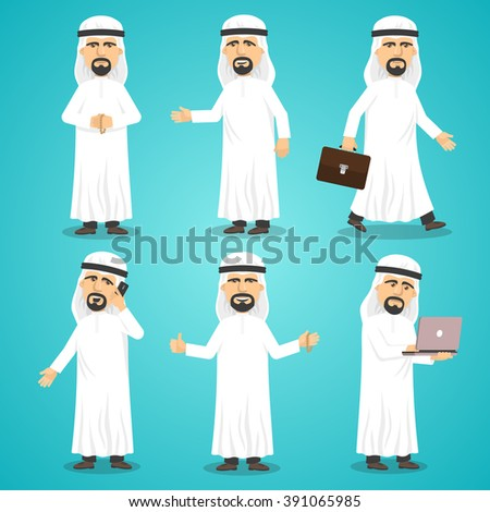 Cartoon images set of arab man in traditional arabic clothing isolated vector illustration - stock vector