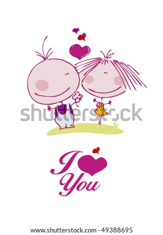 Cartoon in love couple - stock vector