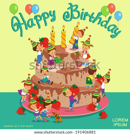 Cartoon. Infographics. Funny kids decorate a birthday cake. - stock vector