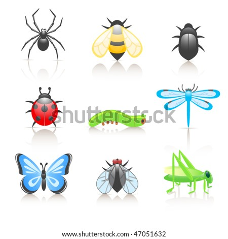 Cartoon insect icon set - stock vector