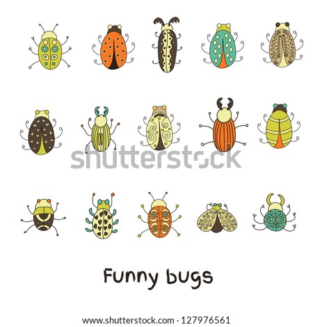Cartoon insects in vector set. Funny bugs - stock vector