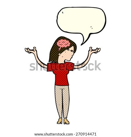 cartoon intelligent woman with speech bubble - stock vector