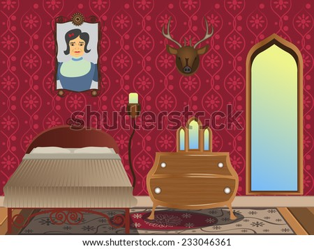 cartoon interior - illustration of a luxury bedroom in Gothic style. - stock vector