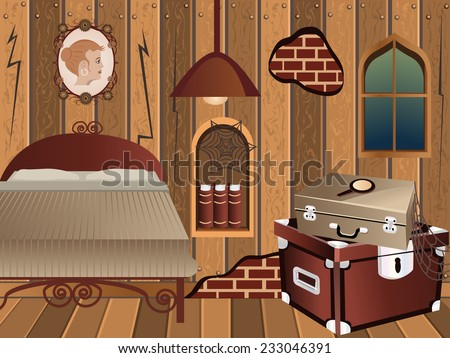 cartoon interior - illustration of an attic in vintage style. - stock vector