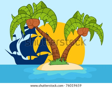 Cartoon Palm Tree Island Cartoon Island With Two Palm