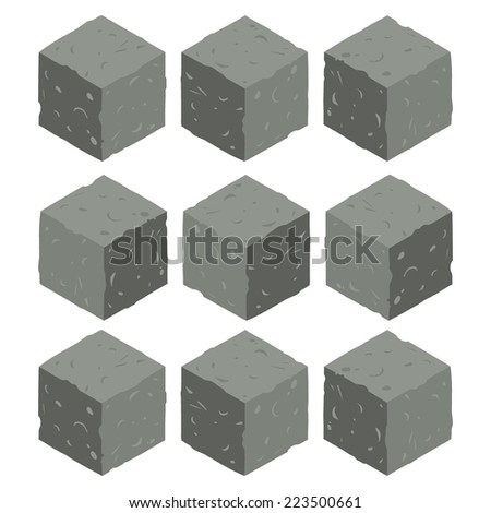 Cartoon Isometric rock stone game brick cubes set. The vector illustration for ui, web games, tablets, wallpapers, and patterns. - stock vector