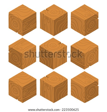 Cartoon Isometric wood game brick cubes set. The vector illustration for ui, web games, tablets, wallpapers, and patterns. - stock vector