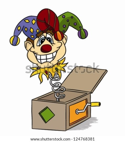 Cartoon Jack-in-the-box (vector) - funny jester - stock vector