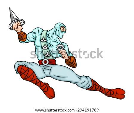 Cartoon Japanese Ninja Vector Illustration - stock vector