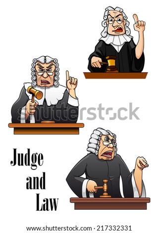 Cartoon judge characters with gavel hammer and wig. For law design - stock vector